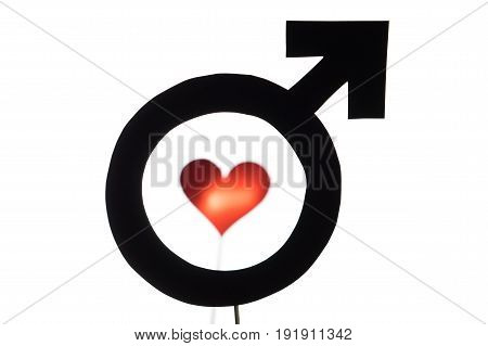 Black male and man symbol with red heart and love icon. Gay pride, homosexuality or lesbian concept. Silhouette from sign cut from cardboard paper and wooden stick isolated on white background.