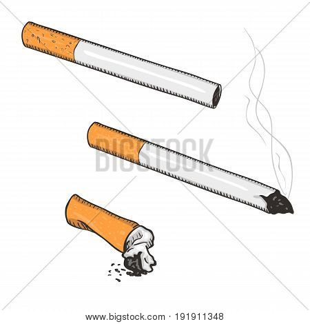 Vector Cartoon Set Of Cigarettes With Filter