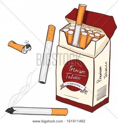 Vector Cartoon Set Of Cigarettes