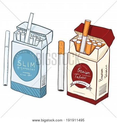 Vector Cartoon Slim And Regular Cigarette Boxes