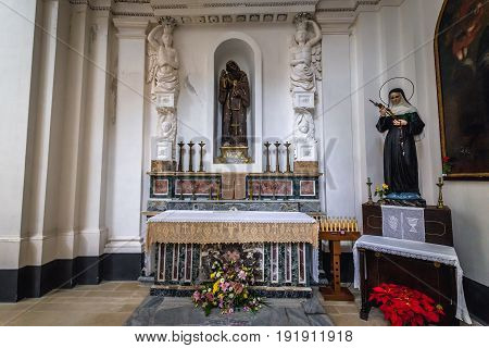 Syracuse Italy - December 14 2016: Interior of Saint Philip Apostle Church on Ortygia isle Syracuse city Sicily Island
