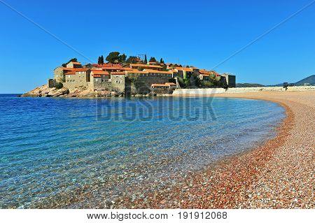 Summer view of Sveti Stefan resort Montenegro