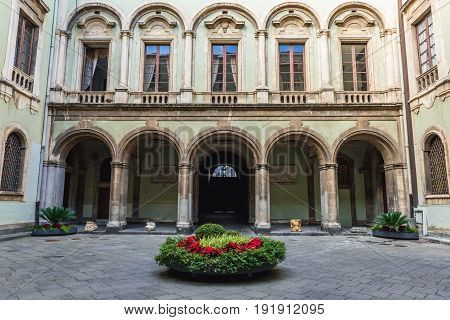 Catania Italy - December 16 2016: City Hall courtyard located in Elephant Palace in Catania on Sicily