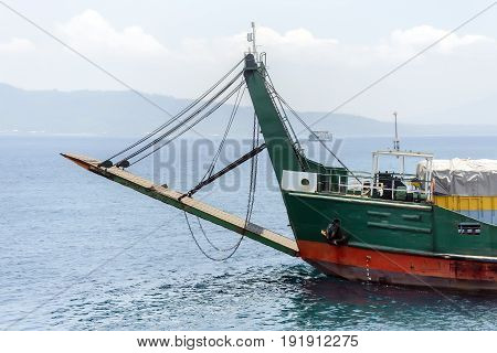 Old ferry boat in Indian ocean, Indonesia