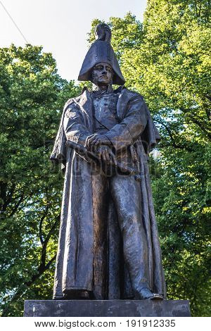 Riga Latvia - June 25 2016: Prince Barclay de Tolly statue in Riga