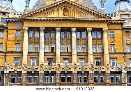 Facade of Az Anker building Budapest city Hungary