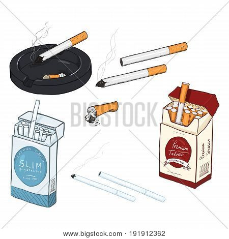 Vector Set Of Cartoon Cigarettes And Cigarette Boxes