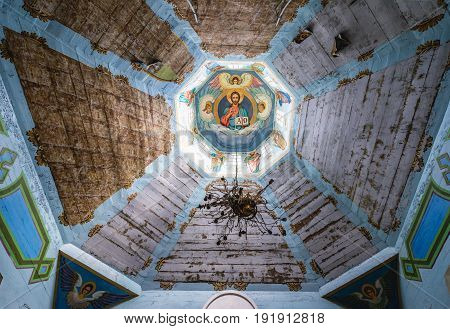 Krasne Ukraine - September 17 2016: Interior of Orthodox church in Krasne ghost village of Chernobyl Exclusion Zone