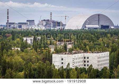 Prpyat Ukraine - September 20 2016: New shelter of Nuclear Power Station in Chernobyl Exclusion Zone