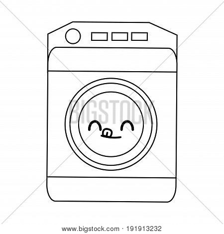 kawaii washing machine icon home appliance symbol vector illustration