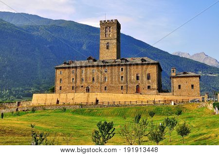 Ancient castle in Val d'Aosta in Italy