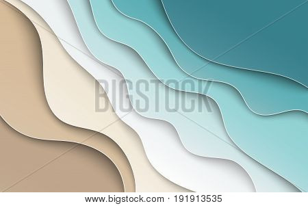 Abstract blue sea and beach summer background with curve paper waves and seacoast for banner flyer invitation poster or web site design. Paper cut out art style space for text vector illustration