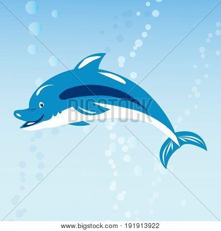 Cute dolphins aquatic marine nature ocean blue mammal sea water wildlife animal vector illustration. Swimming fish underwater beautiful tropical flipper dolphins.
