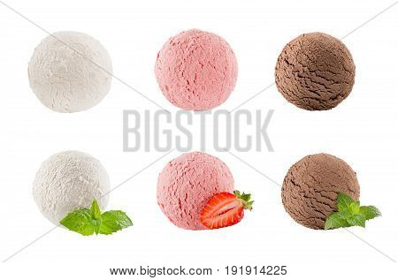 Ice cream scoops collection of six balls - creamy strawberry chocolate - decorated mint leaves sliece berry. Isolated on white background. Template for menu.