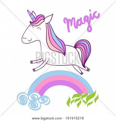 Magic cute unicorn with stars. Vector greeting card.