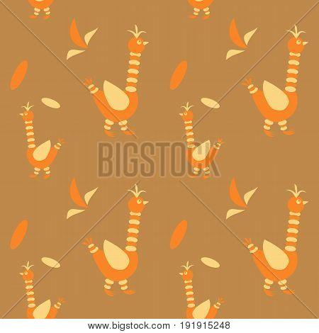 The bird is stylized  Vector seamless pattern on ocher background