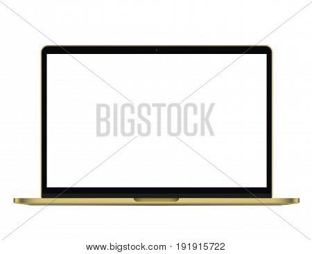 Modern rich golden ultrabook, notebook, laptop isolated. Vector illustration