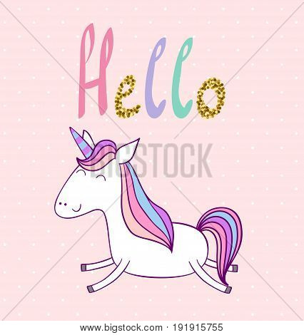 Hello. Magic cute unicorn. Vector greeting card.