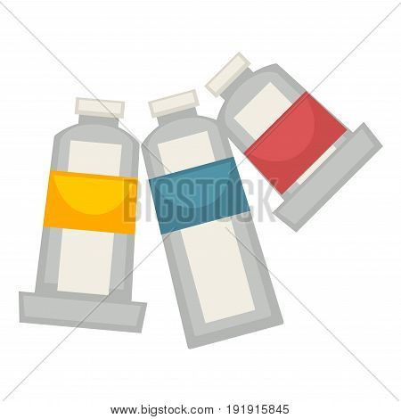 Three painting tubes with yellow, red and blue colors isolated on white vector poster in flat design. Acryl in special jars for paint pictures and creating other masterpieces by artists on papers