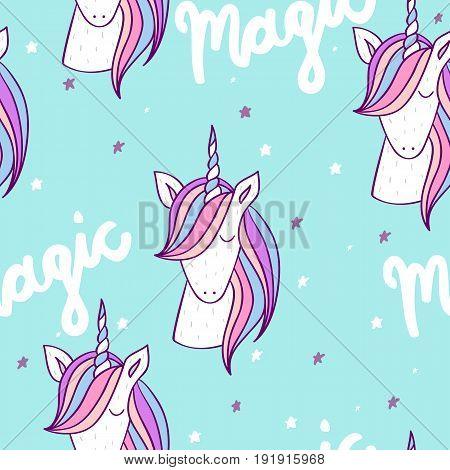Magic cute unicorn with stars. Vector seamless pattern