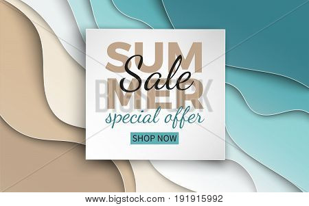 Summer sale banner with paper cut frame on blue sea and beach summer background with curve paper waves and seacoast for banner flyer poster or web site design. Paper cut style vector illustration