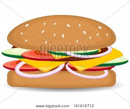 King burger concept vector cartoon flat and doodle illustration. yummy burger, hamburger. cheeseburger. Fast food concept