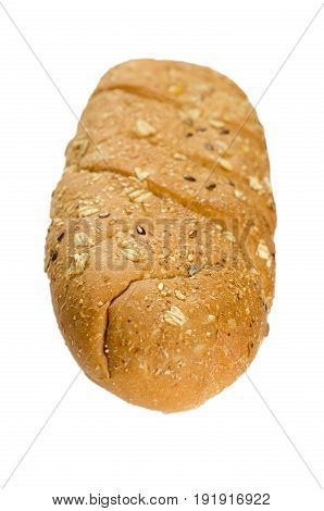 long loaf multigrain bread isolated on white background