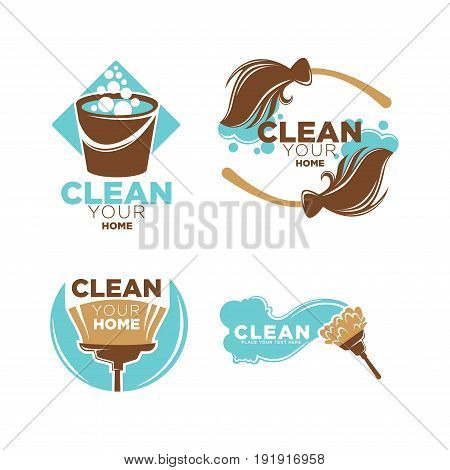 Clean your home service promotional logotypes set with brown bucket full of water and soap, wet vintage brooms, brushes for windows and for dust isolated vector illustrations on white background.