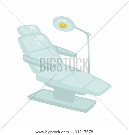 Modern dentist chair with standing lamp isolated on white. Vector illustration in flat design of special medical soft equipment with back and armrests for patients sitting during curing teeth