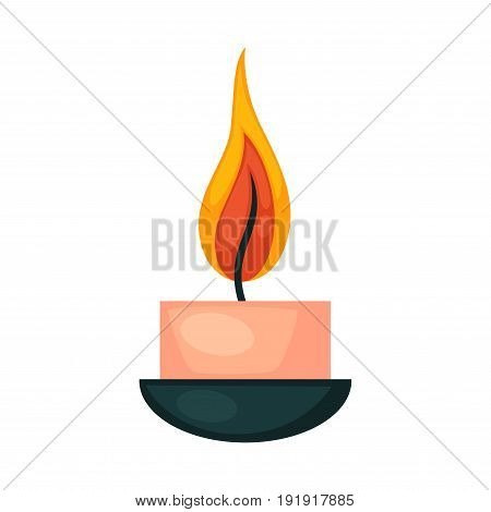 Burning small decorative candle in pink color and little dark bowl isolated on white vector illustration in flat design. Close up aroma wax equipments that makes flame and smell for spa relaxation