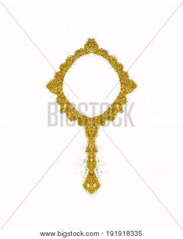 Vintage hand mirror of golden glitter sparkle on white background. Icon for your design