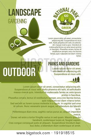 Outdoor green landscape designing company and horticulture organization poster. Vector design of park or forest trees and woodlands garden greenery, eco parkland plants for gardening association