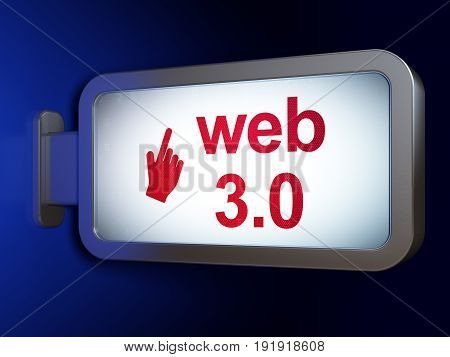 Web design concept: Web 3.0 and Mouse Cursor on advertising billboard background, 3D rendering