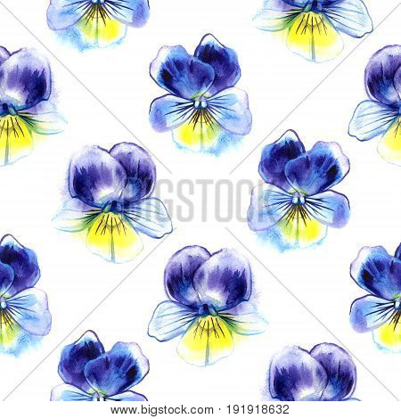Watercolor illustration of Violet flowers. Seamless pattern. Watercolor Pansies. Seamless background of beautiful watercolor pansy.