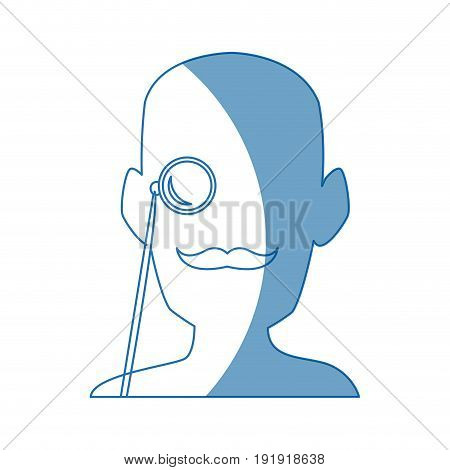 silhouette man portrait wear monocle vector illustration