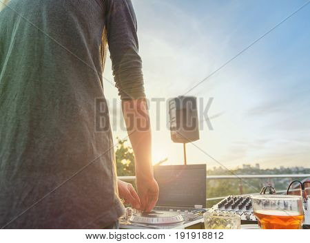 Dj Mixing Music Outdoor.
