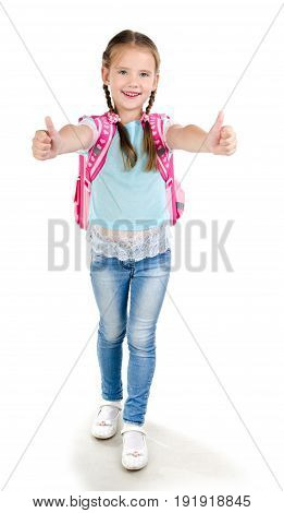 Happy schoo lgirl child with backpack and fingers up isolated on a white background