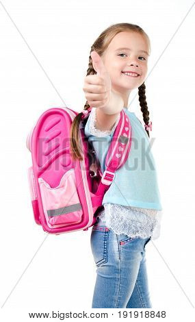 Happy school girl with backpack and finger up isolated on a white background