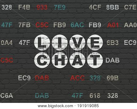 Web development concept: Painted white text Live Chat on Black Brick wall background with Hexadecimal Code