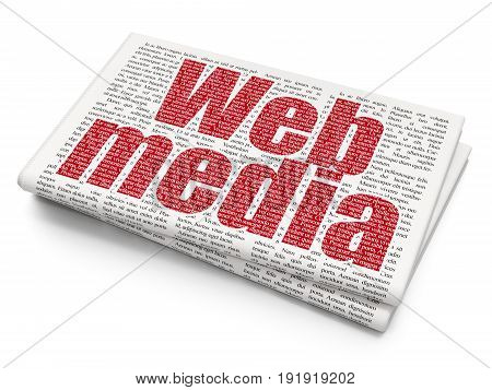 Web design concept: Pixelated red text Web Media on Newspaper background, 3D rendering