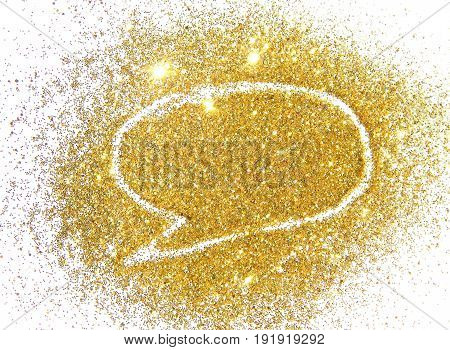 Balloon shape for text of gold glitter on white background.