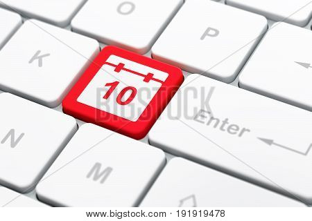 Time concept: computer keyboard with Calendar icon on enter button background, selected focus, 3D rendering