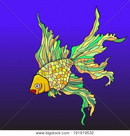 Illustration of a bright decorative aquarium fish on the background of water