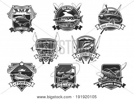 Fishing club icons set for fisher sport or trip. Vector isolated symbols of big fish catch and fisherman tackle of fishing rod, bait and lure or fishery net and flounder or salmon and trout on hook