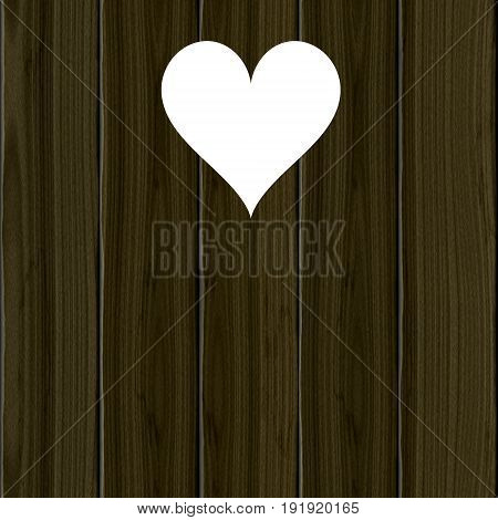 Lantrine symbol heart in wooden planks. Love natural icon on wood.
