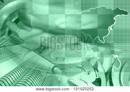 Financial background in greens with money calculator map and pen.