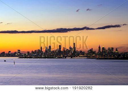 Melbourne, Australia.  Skyline at sunset.