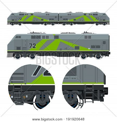 Two Locomotives coupled Together Rail Transport Vehicle Green Train Rail Transportation Vector Illustration