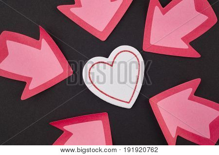 Health care background with heart and arrow signals. Valentine day
