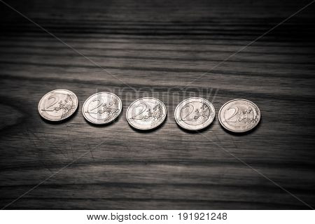 National Anniversary Euro Coins. Latvian Currency - Monochrome Vintage Look